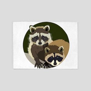 Cute Little Woodland Raccoons 5'x7'Area Rug