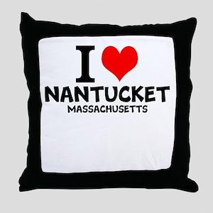 I Love Nantucket, Massachusetts Throw Pillow