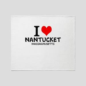 I Love Nantucket, Massachusetts Throw Blanket