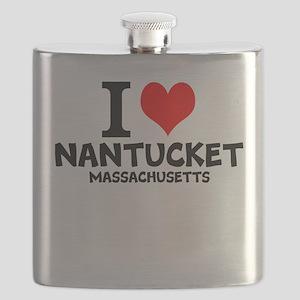 I Love Nantucket, Massachusetts Flask