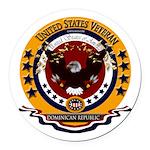 Dominican Republic Veteran Round Car Magnet