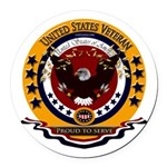 Veteran Proud to Serve Round Car Magnet