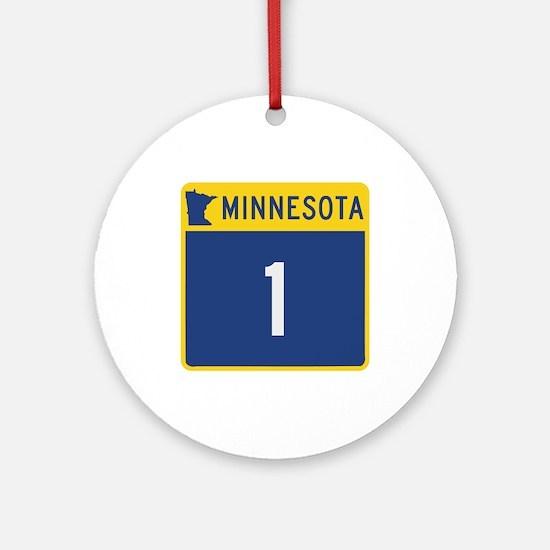 Trunk Highway 1, Minnesota Ornament (Round)