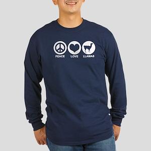 Peace Love Llamas Long Sleeve Dark T-Shirt