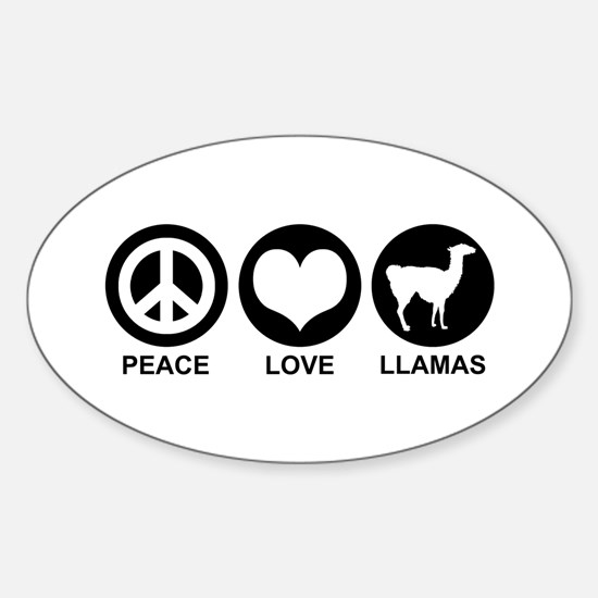 Peace Love Llamas Oval Decal