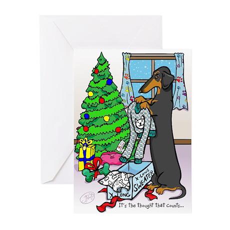 Black Tan Dachshund Funny Christmas Cards (10)