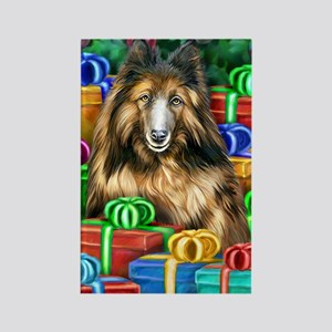 Belgian Tervuren Christmas Rectangle Magnet