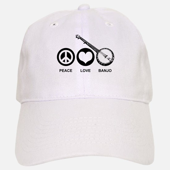 Peace Love Banjo Baseball Baseball Cap