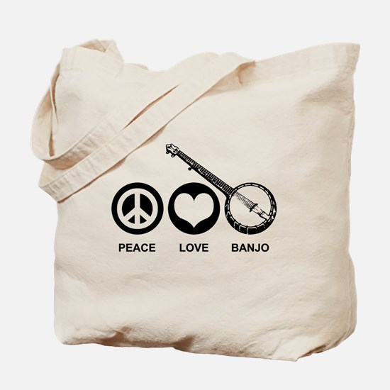 Peace Love Banjo Tote Bag