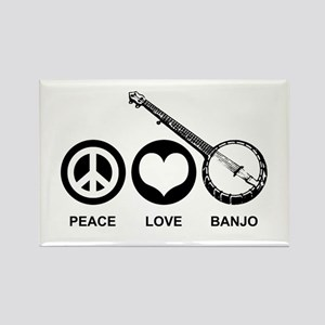 Peace Love Banjo Rectangle Magnet