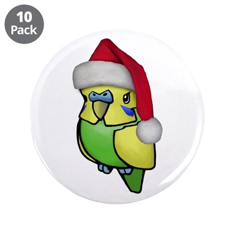 "Christmas Budgie 3.5"" Button (10 pack)"