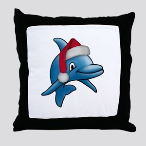 Christmas Dolphin Throw Pillow