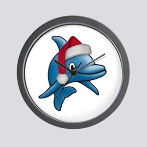 Christmas Dolphin Wall Clock