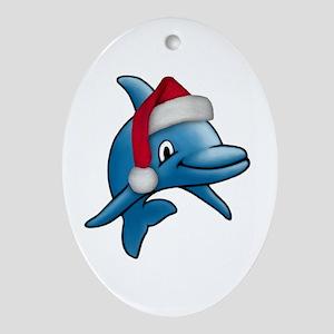 Christmas Dolphin Oval Ornament
