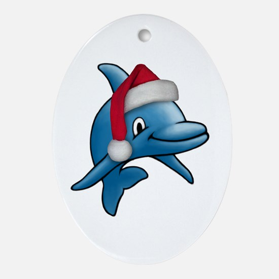 Christmas Dolphin Oval Ornament