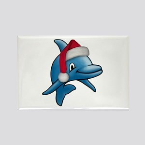 Christmas Dolphin Rectangle Magnet