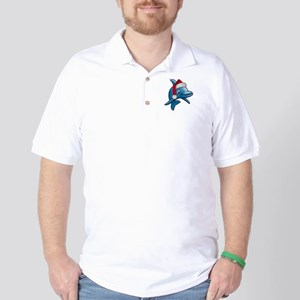 Christmas Dolphin Golf Shirt
