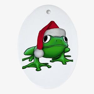 Christmas Frog Oval Ornament