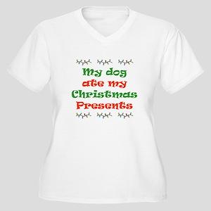 Dog Ate My Christmas Women's Plus Size V-Neck T-Sh