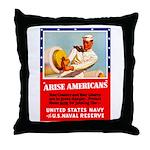 Navy Arise Americans Throw Pillow
