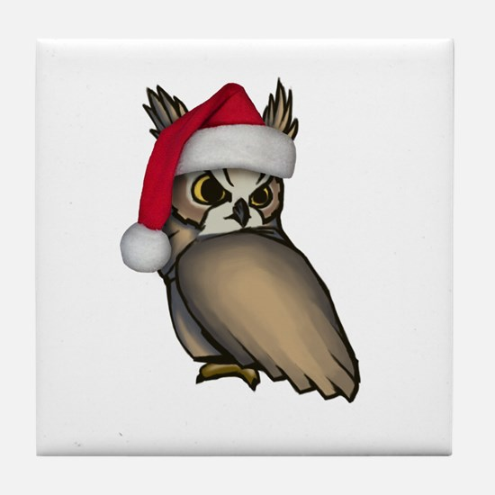 Christmas Owl Tile Coaster