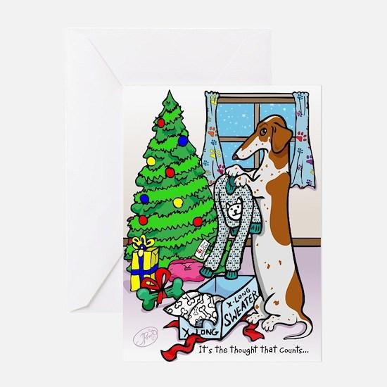 Red Piebald Dachshund Christmas Card