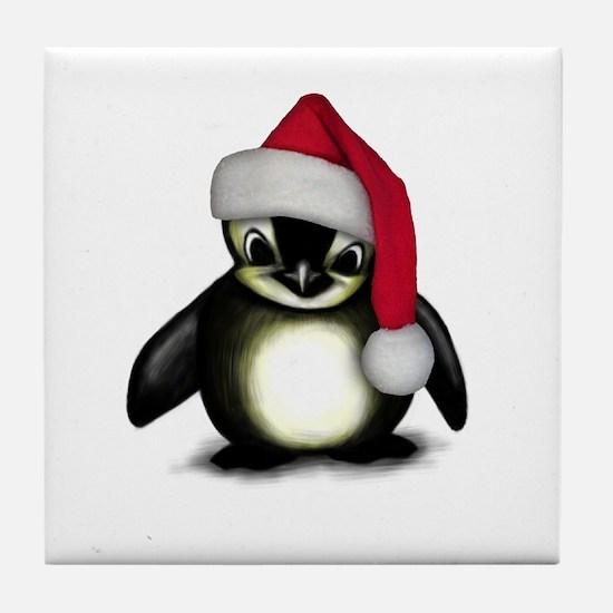 Christmas Penguin Tile Coaster