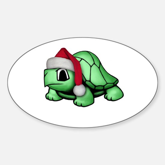 Christmas Turtle Oval Decal