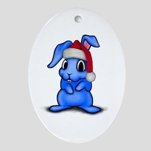 Christmas Rabbit Oval Ornament