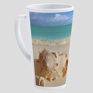 Seashell And Starfish On Beach 17 oz Latte Mug