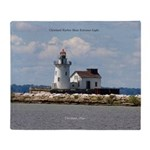 Cleveland Harbor Main Entrance Light Throw Blanket