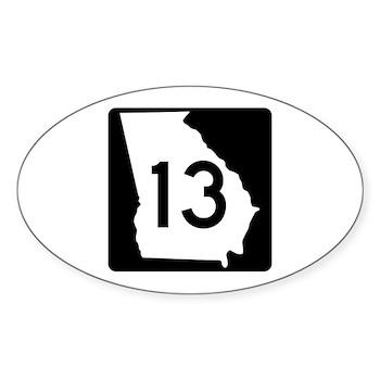 State Route 13, Georgia Oval Sticker (50 pk)