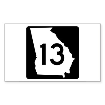 State Route 13, Georgia Rectangle Sticker 10 pk)