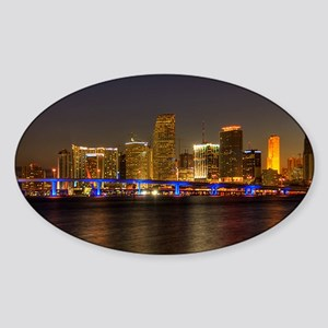 Miami at Night Oval Sticker