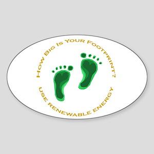 Carbon Footprint Renewable En Oval Sticker