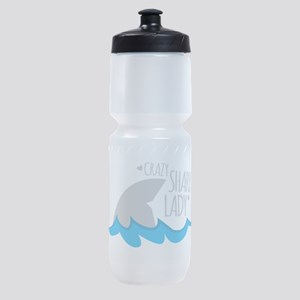 Crazy Shark Lady Sports Bottle