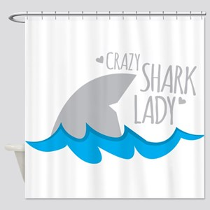 Crazy Shark Lady Shower Curtain
