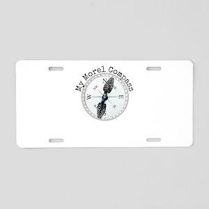 Morel Compass Mushroom Humo Aluminum License Plate