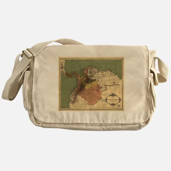 Vintage Map of Columbia (1886) Messenger Bag