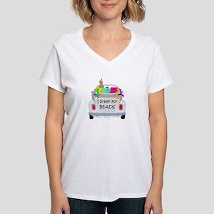 I brake for beads Women's V-Neck T-Shirt