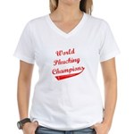 World Phucking Champions, Red Women's V-Neck T-Shi