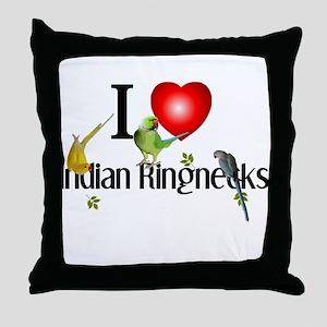Indian Ringnecks Throw Pillow