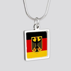 Flag: German & Coat of Arm Silver Square Necklace