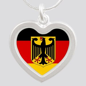Flag: German & Coat of Arms Silver Heart Necklace
