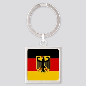 Flag: German & Coat of Arms Square Keychain