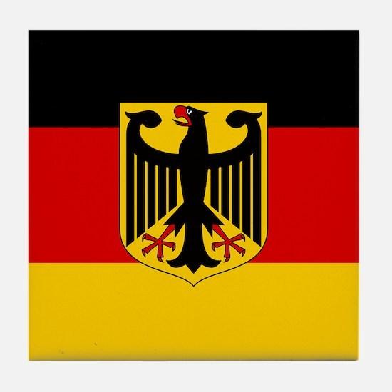 Flag: German & Coat of Arms Tile Coaster