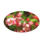 Pink Blossoms Oval Car Magnet