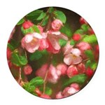 Pink Blossoms Round Car Magnet