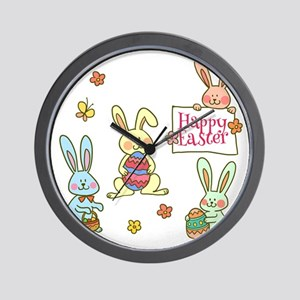 Happy Easter Bunnies Wall Clock