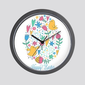 Happy Easter Chicks and Flowers Wall Clock